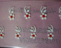 Flores brancas com vermelho Cod. 112