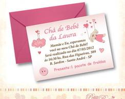 Convite Ch� de Beb� - Cora��o