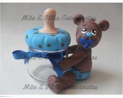 Urso Marrom e Azul com Mamadeira