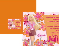Convite Barbie Flores