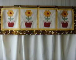 Cortina em Patchwork Flores