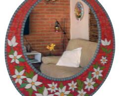 Espelho vermelho Floral