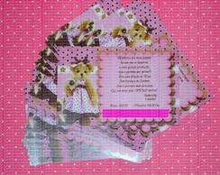 Convite ursa marrom e rosa com envelope