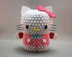 Hello Kitty em origami 3D