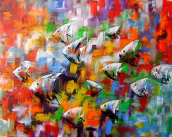 PAINEL 80X100 ABSTRATO PEIXES COD 473