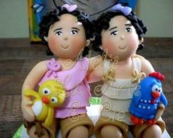 Topo de bolo Marina e Clara