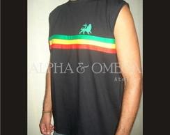 Camiseta (mach�o) Reggae Roots PRETA