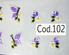 Bot�es e borboletas lil�s Cod.102