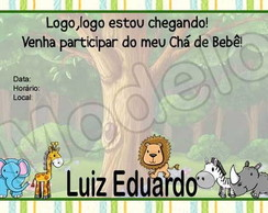 Convite Ch� de Beb� - Safari
