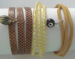 Kit pulseiras amarelo couro