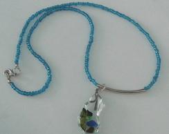 Cord�o azul vidro caquinhos