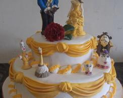 Bolo decorado Bela e a Fera