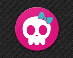 Botton Pink Skull Girl