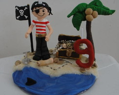 Topo de Bolo Menino Pirata