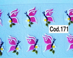 Borboletas Rosas com margaridas Cod.171