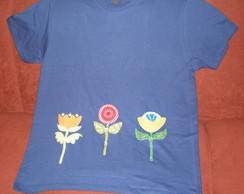 Camiseta Flores - Azul