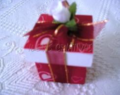 Caixa MDF Forrada Tecido Vermelha