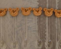Colheres decoradas ursinho(a) - cento