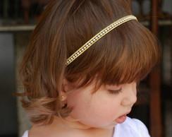 Faixa infantil dourado c/ p�rolas