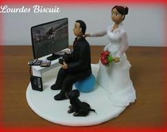 Topo de bolo - Casamento da Michele