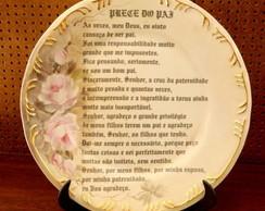 """Prato de porcelana com """"Prece do Pai"""""""