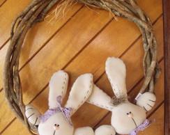 Guirlanda/Enfeite de porta casal coelhos