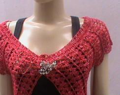 Colete de croch� (vermelho+prata)