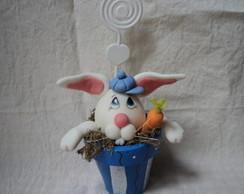 Porta recados/fotos -coelho em biscuit