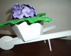 Carriola MDF com violetas