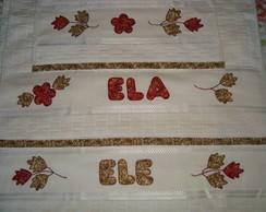 Conjunto de toalha bordada motivo folha