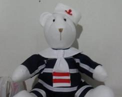 Urso marinheiro em fust�o de 45cm.