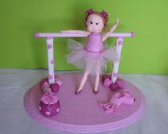 Topo de bolo bailarina rosa