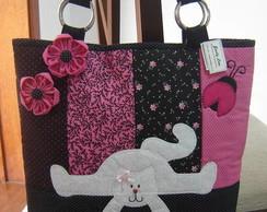 Bolsa de Ursinha preta e rosa
