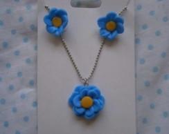Conjunto colar de flor azul