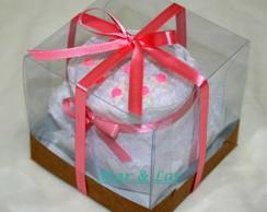 Mini-bolo Branco e Rosa