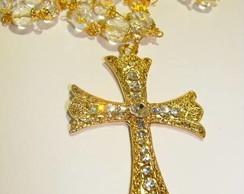 Ter�o cristal crucifixo Medieval dourado