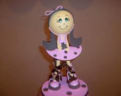 Boneca em EVA 3D marrom e rosa