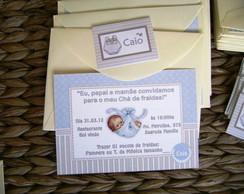 Mini convite: Ch� de Beb� azul e bege