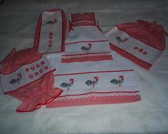 kit de cozinha Xadrez Vermelho Galinhos