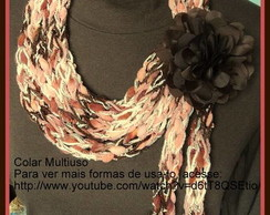 Colar Cachecol Multi�so Marrom/Ros�