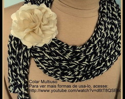 Colar Cachecol Multi�so Preto/Bege