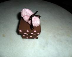 Mini Sapatinho caixa MDF rosa com marrom
