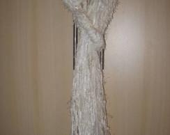 Cachecol branco de tirinhas