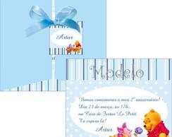 Convite Pooh Azul e Branco
