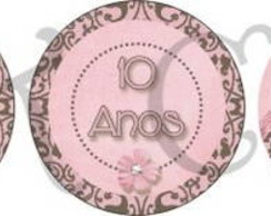 Kit 3 tags/toppers marrom e rosa (arte)