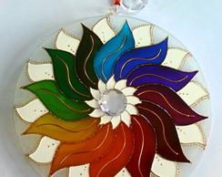 Mandala Arco �ris em vidro 25cm