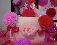 Kit Pompons e Flores de papel de seda