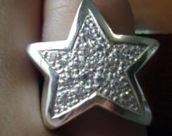 Anel estrela em prata 950 e zirc�nias