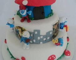Bolo decorado dos Smurfs
