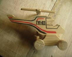 helicoptero de madeira e helice movel